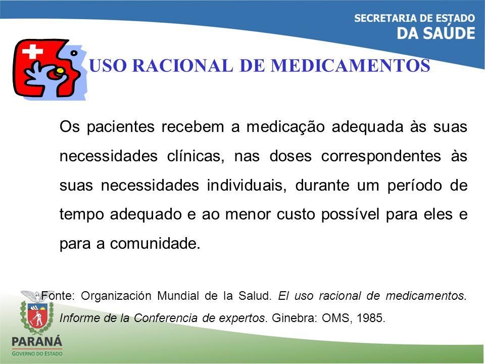USO RACIONAL DE MEDICAMENTOS Os pacientes recebem a medicação adequada às suas necessidades clínicas, nas doses correspondentes às suas necessidades individuais, durante um período de tempo adequado e ao menor custo possível para eles e para a comunidade.