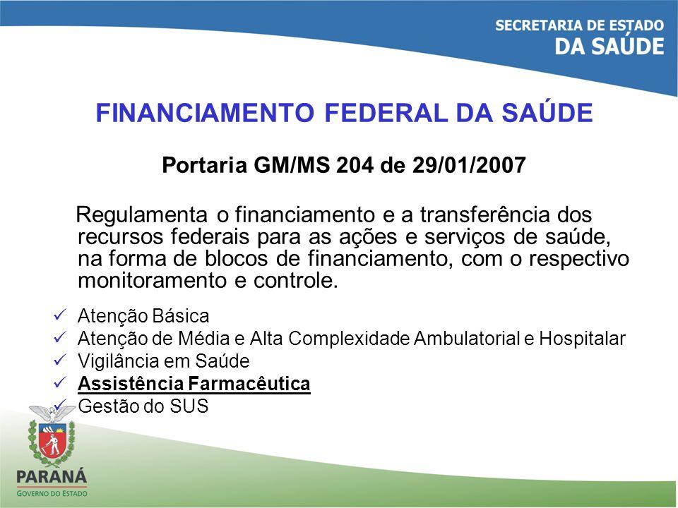 FINANCIAMENTO FEDERAL DA SAÚDE Portaria GM/MS 204 de 29/01/2007 Regulamenta o financiamento e a transferência dos recursos federais para as ações e serviços de saúde, na forma de blocos de financiamento, com o respectivo monitoramento e controle.