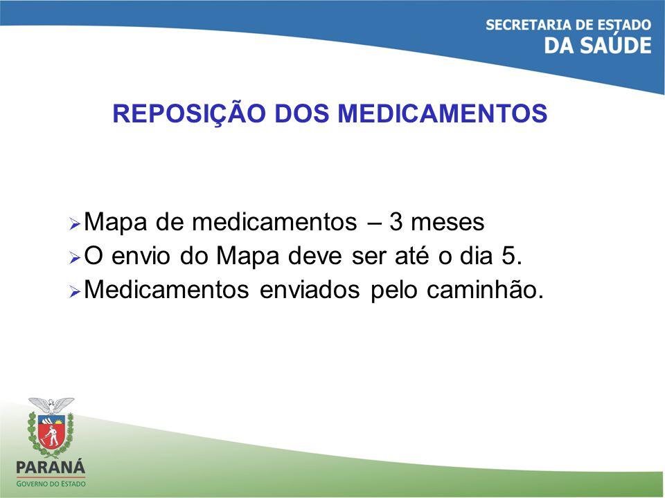 REPOSIÇÃO DOS MEDICAMENTOS Mapa de medicamentos – 3 meses O envio do Mapa deve ser até o dia 5. Medicamentos enviados pelo caminhão.