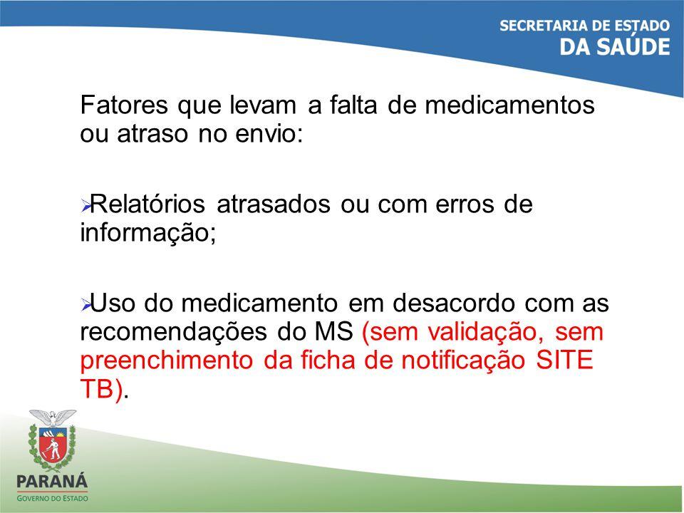 Fatores que levam a falta de medicamentos ou atraso no envio: Relatórios atrasados ou com erros de informação; Uso do medicamento em desacordo com as recomendações do MS (sem validação, sem preenchimento da ficha de notificação SITE TB).