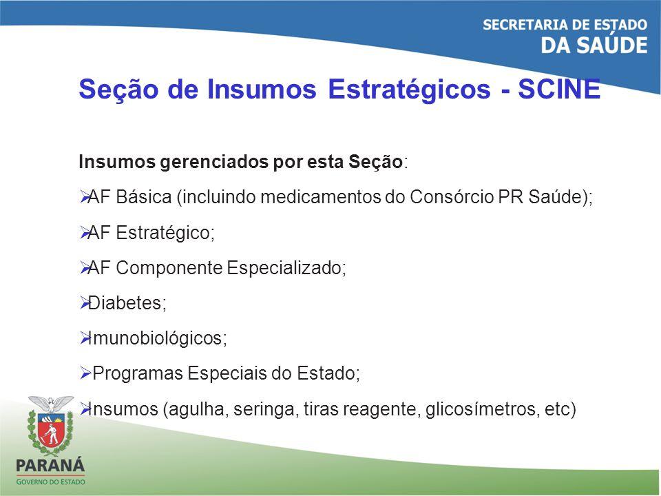 Seção de Insumos Estratégicos - SCINE Insumos gerenciados por esta Seção: AF Básica (incluindo medicamentos do Consórcio PR Saúde); AF Estratégico; AF