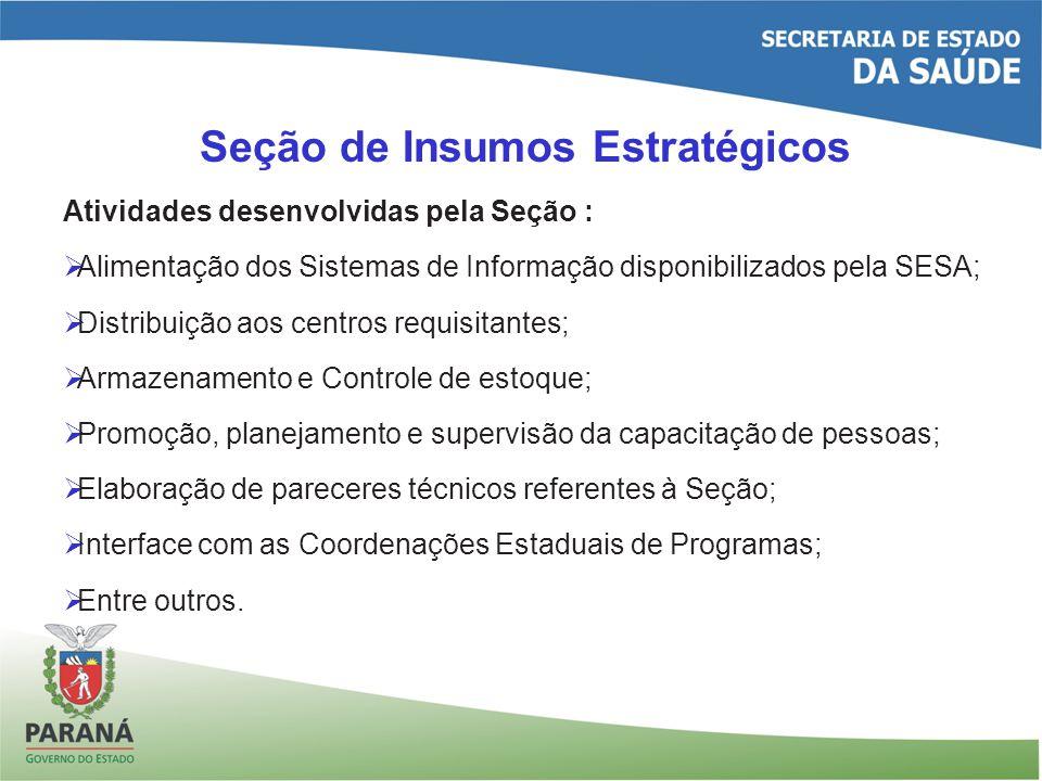 Seção de Insumos Estratégicos Atividades desenvolvidas pela Seção : Alimentação dos Sistemas de Informação disponibilizados pela SESA; Distribuição ao