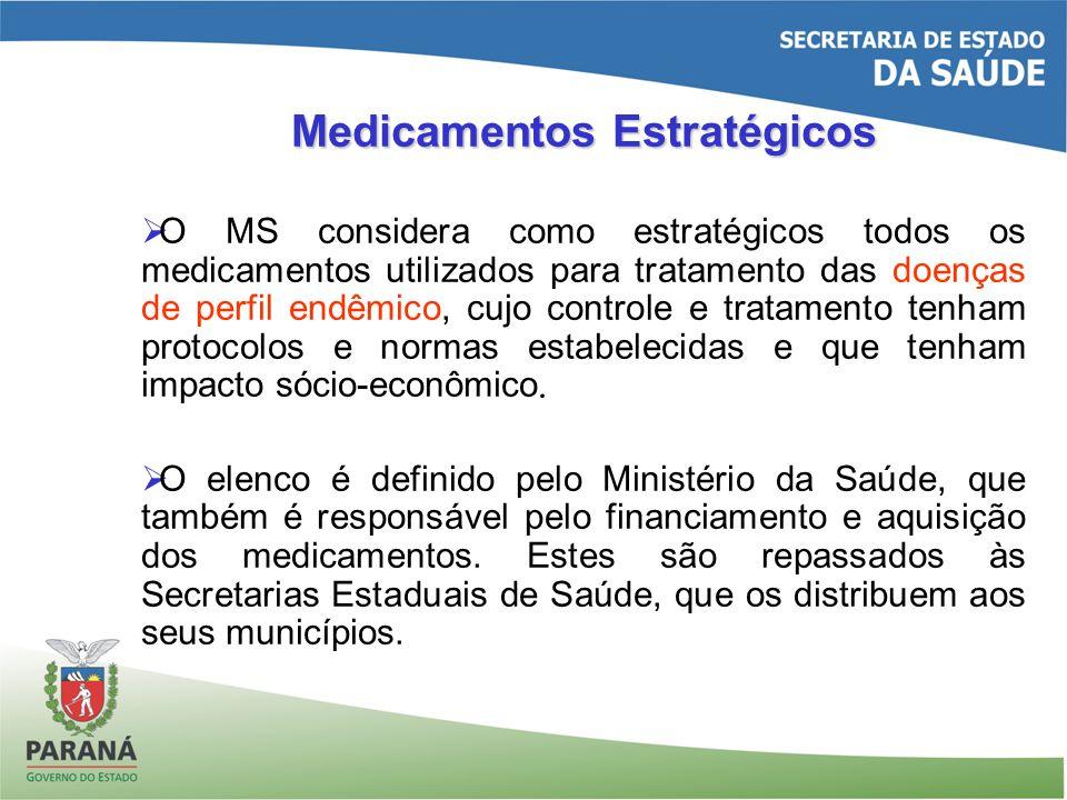 Medicamentos Estratégicos O MS considera como estratégicos todos os medicamentos utilizados para tratamento das doenças de perfil endêmico, cujo controle e tratamento tenham protocolos e normas estabelecidas e que tenham impacto sócio-econômico.