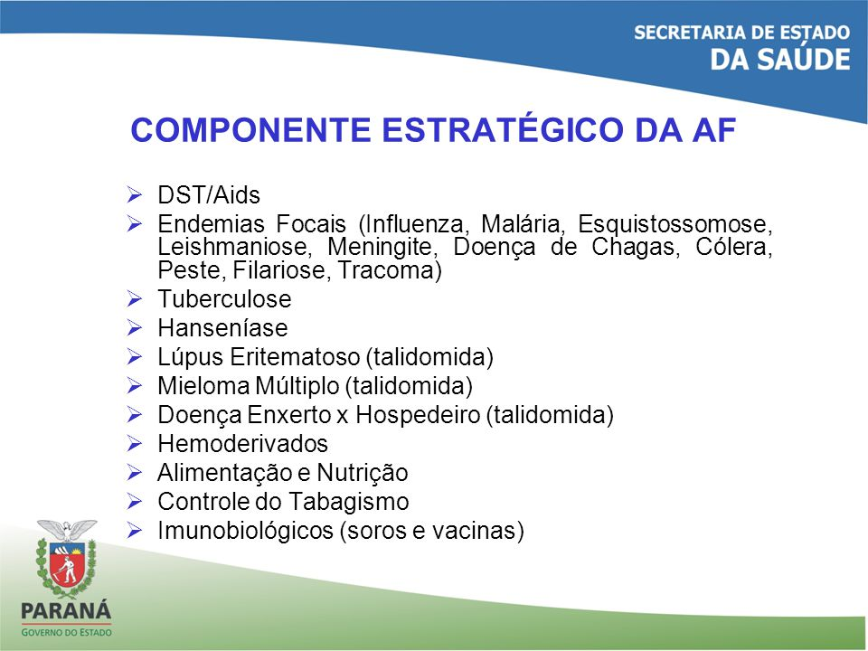 COMPONENTE ESTRATÉGICO DA AF DST/Aids Endemias Focais (Influenza, Malária, Esquistossomose, Leishmaniose, Meningite, Doença de Chagas, Cólera, Peste, Filariose, Tracoma) Tuberculose Hanseníase Lúpus Eritematoso (talidomida) Mieloma Múltiplo (talidomida) Doença Enxerto x Hospedeiro (talidomida) Hemoderivados Alimentação e Nutrição Controle do Tabagismo Imunobiológicos (soros e vacinas)