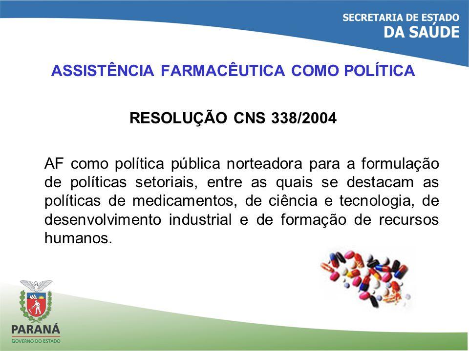 ASSISTÊNCIA FARMACÊUTICA COMO POLÍTICA RESOLUÇÃO CNS 338/2004 AF como política pública norteadora para a formulação de políticas setoriais, entre as quais se destacam as políticas de medicamentos, de ciência e tecnologia, de desenvolvimento industrial e de formação de recursos humanos.