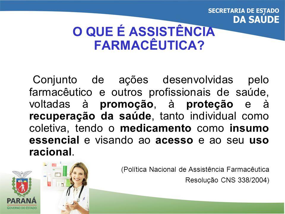 O QUE É ASSISTÊNCIA FARMACÊUTICA? Conjunto de ações desenvolvidas pelo farmacêutico e outros profissionais de saúde, voltadas à promoção, à proteção e