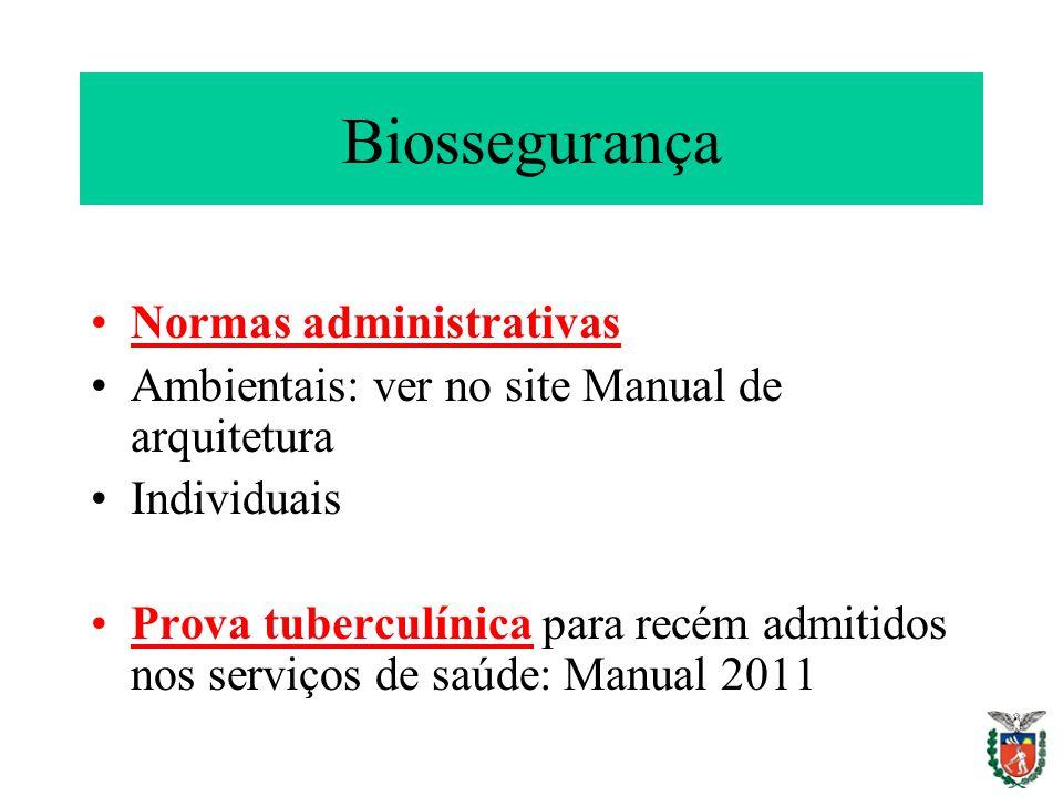 Biossegurança Normas administrativas Ambientais: ver no site Manual de arquitetura Individuais Prova tuberculínica para recém admitidos nos serviços d