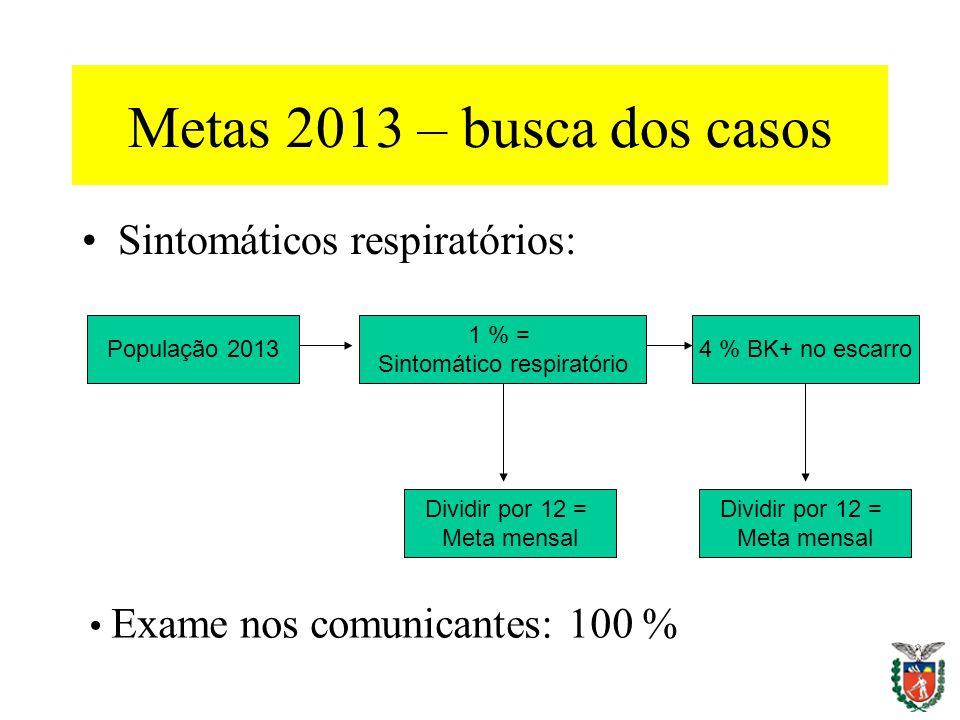 Metas 2013 – busca dos casos Sintomáticos respiratórios: População 2013 1 % = Sintomático respiratório 4 % BK+ no escarro Dividir por 12 = Meta mensal
