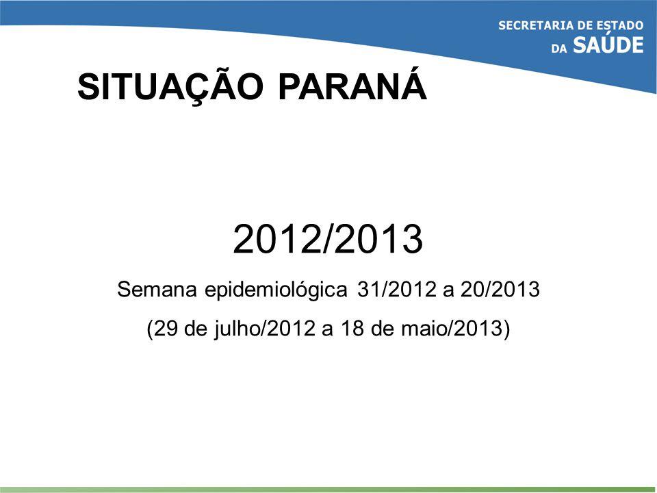 SITUAÇÃO PARANÁ 2012/2013 Semana epidemiológica 31/2012 a 20/2013 (29 de julho/2012 a 18 de maio/2013)