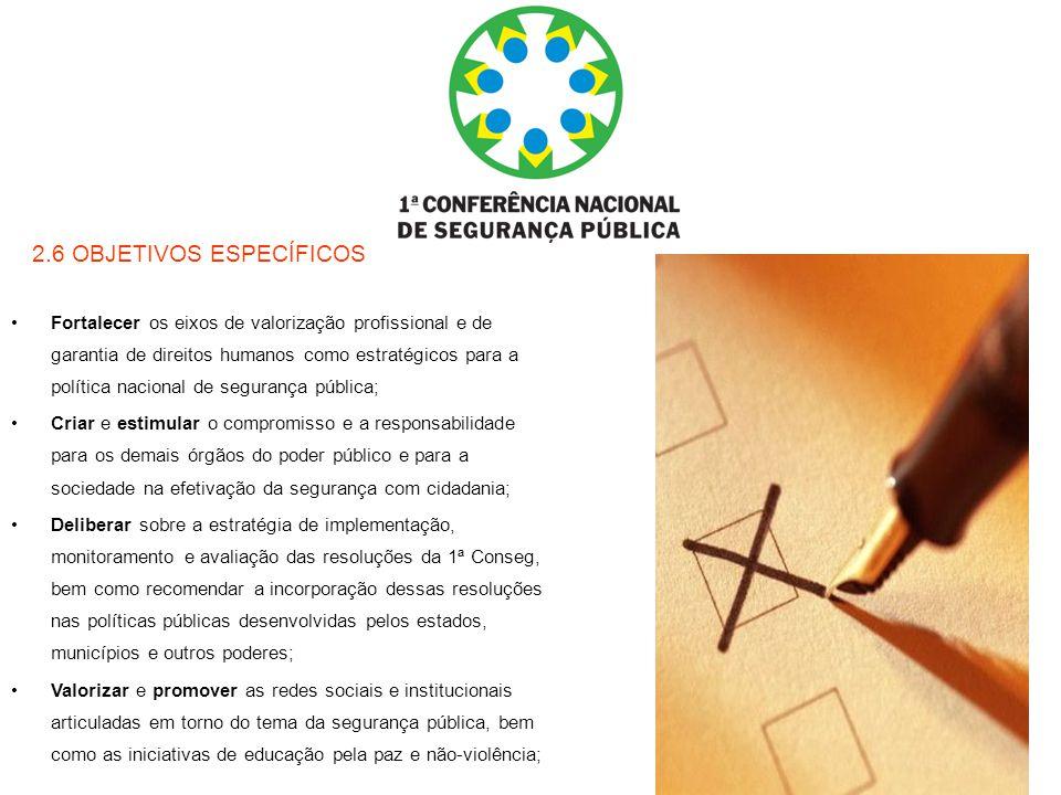 2.6 OBJETIVOS ESPECÍFICOS Fortalecer os eixos de valorização profissional e de garantia de direitos humanos como estratégicos para a política nacional