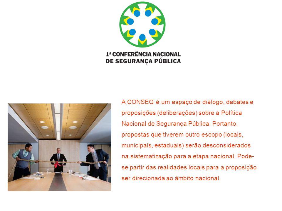 A CONSEG é um espaço de diálogo, debates e proposições (deliberações) sobre a Política Nacional de Segurança Pública. Portanto, propostas que tiverem