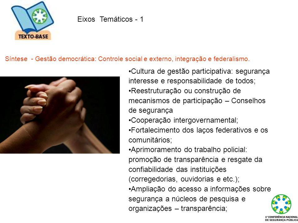 Eixos Temáticos - 1 Síntese - Gestão democrática: Controle social e externo, integração e federalismo. Cultura de gestão participativa: segurança inte