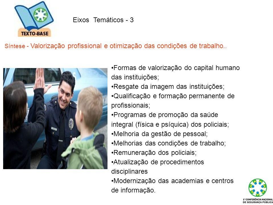 Eixos Temáticos - 3 Síntese - Valorização profissional e otimização das condições de trabalho.. Formas de valorização do capital humano das instituiçõ