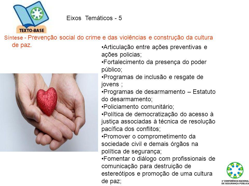 Eixos Temáticos - 5 Síntese - Prevenção social do crime e das violências e construção da cultura de paz. Articulação entre ações preventivas e ações p