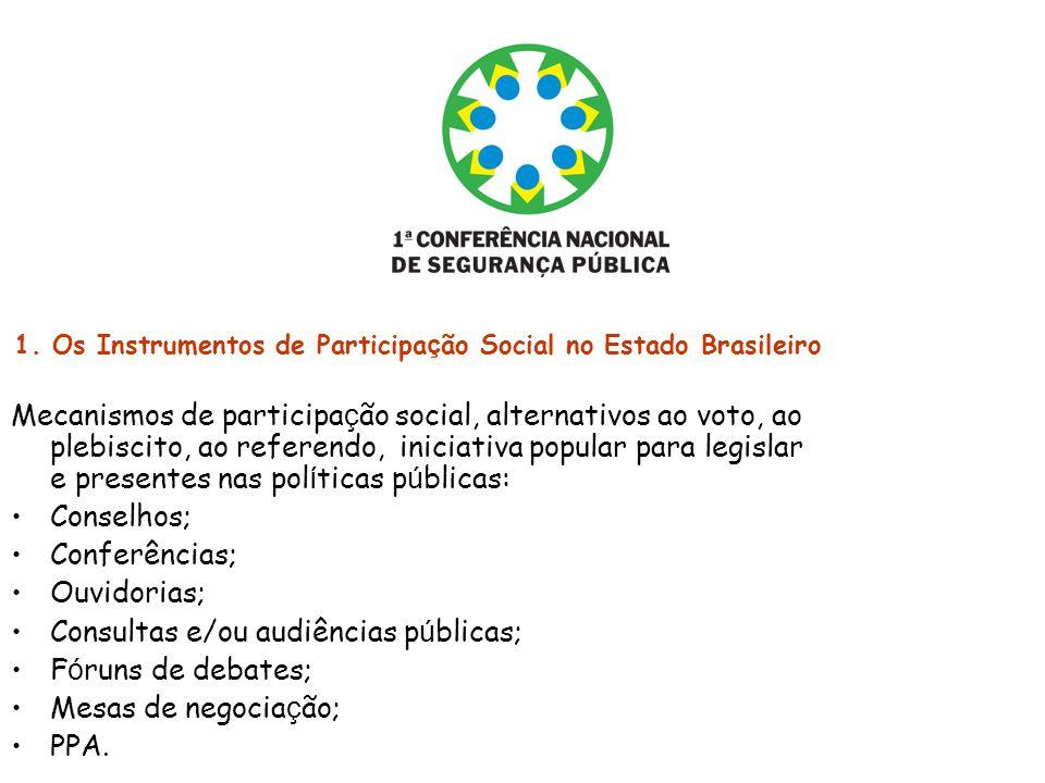 1. Os Instrumentos de Participa ç ão Social no Estado Brasileiro Mecanismos de participa ç ão social, alternativos ao voto, ao plebiscito, ao referend