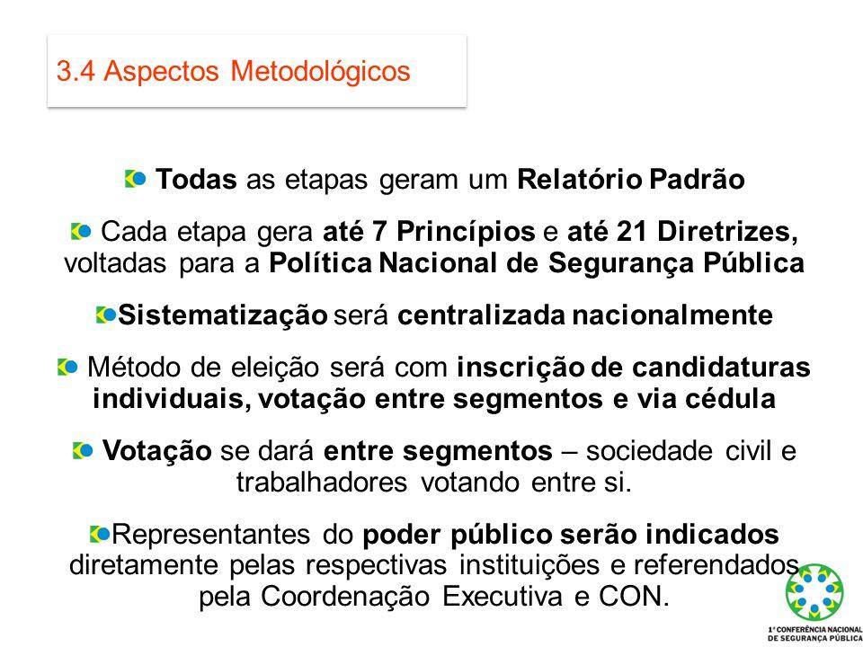 3.4 Aspectos Metodológicos Todas as etapas geram um Relatório Padrão Cada etapa gera até 7 Princípios e até 21 Diretrizes, voltadas para a Política Na