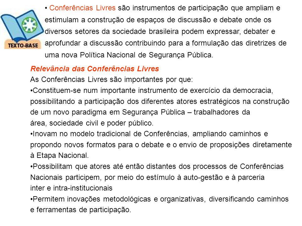 Conferências Livres são instrumentos de participação que ampliam e estimulam a construção de espaços de discussão e debate onde os diversos setores da