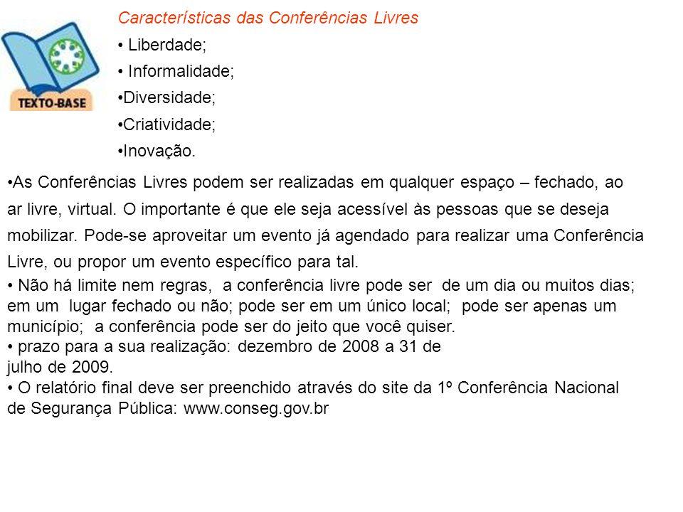 Características das Conferências Livres Liberdade; Informalidade; Diversidade; Criatividade; Inovação. As Conferências Livres podem ser realizadas em