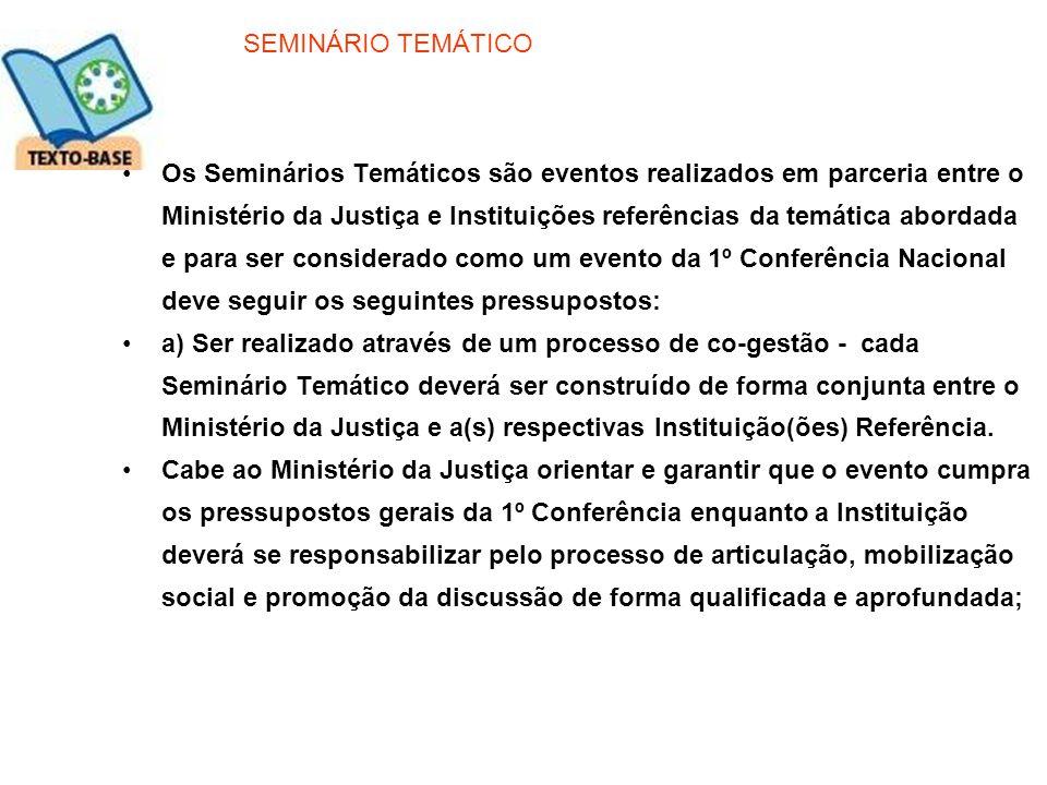 SEMINÁRIO TEMÁTICO Os Seminários Temáticos são eventos realizados em parceria entre o Ministério da Justiça e Instituições referências da temática abo