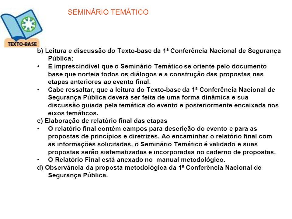 SEMINÁRIO TEMÁTICO b) Leitura e discussão do Texto-base da 1ª Conferência Nacional de Segurança Pública; É imprescindível que o Seminário Temático se