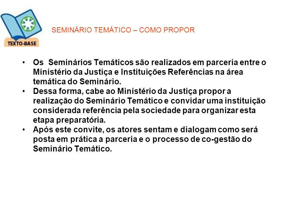 SEMINÁRIO TEMÁTICO – COMO PROPOR Os Seminários Temáticos são realizados em parceria entre o Ministério da Justiça e Instituições Referências na área t