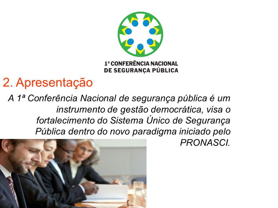 2. Apresentação A 1ª Conferência Nacional de segurança pública é um instrumento de gestão democrática, visa o fortalecimento do Sistema Único de Segur