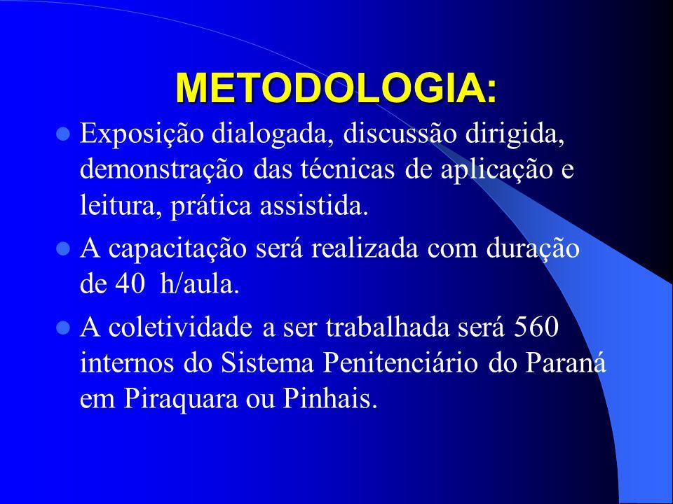 METODOLOGIA: Exposição dialogada, discussão dirigida, demonstração das técnicas de aplicação e leitura, prática assistida. A capacitação será realizad
