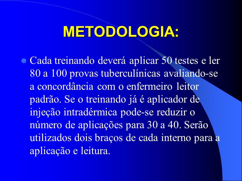 METODOLOGIA: Cada treinando deverá aplicar 50 testes e ler 80 a 100 provas tuberculínicas avaliando-se a concordância com o enfermeiro leitor padrão.