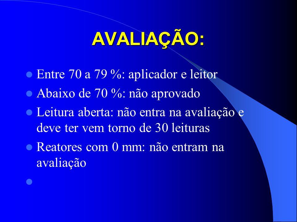 AVALIAÇÃO: Entre 70 a 79 %: aplicador e leitor Abaixo de 70 %: não aprovado Leitura aberta: não entra na avaliação e deve ter vem torno de 30 leituras
