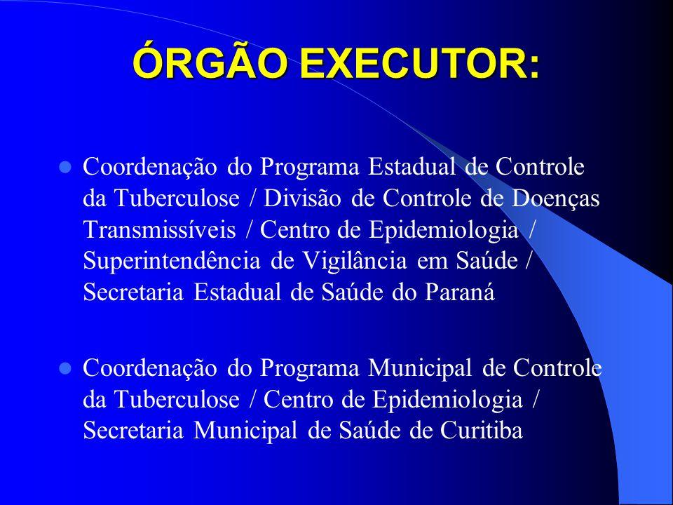 ÓRGÃO EXECUTOR: Coordenação do Programa Estadual de Controle da Tuberculose / Divisão de Controle de Doenças Transmissíveis / Centro de Epidemiologia