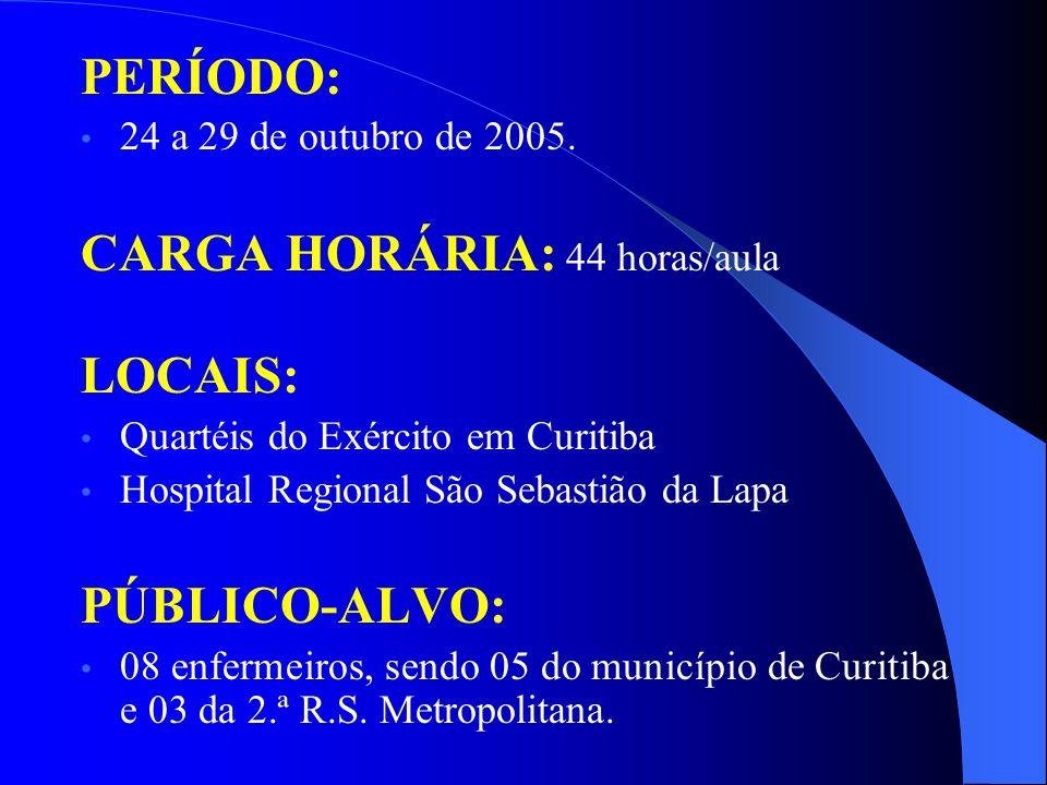 PERÍODO: 24 a 29 de outubro de 2005. CARGA HORÁRIA: 44 horas/aula LOCAIS: Quartéis do Exército em Curitiba Hospital Regional São Sebastião da Lapa PÚB
