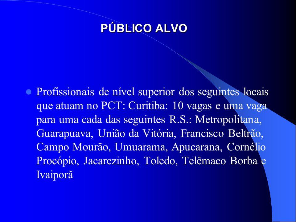 PÚBLICO ALVO Profissionais de nível superior dos seguintes locais que atuam no PCT: Curitiba: 10 vagas e uma vaga para uma cada das seguintes R.S.: Me