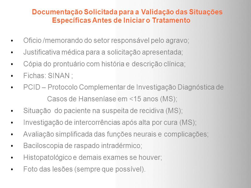 Documentação Solicitada para a Validação das Situações Específicas Antes de Iniciar o Tratamento Oficio /memorando do setor responsável pelo agravo; J