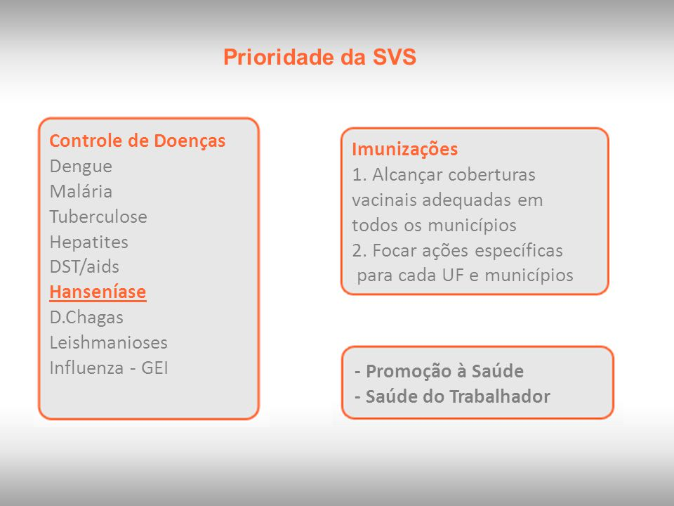 Prioridade da SVS Controle de Doenças Dengue Malária Tuberculose Hepatites DST/aids Hanseníase D.Chagas Leishmanioses Influenza - GEI Imunizações 1. A