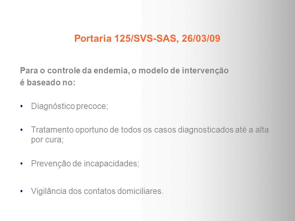 Portaria 125/SVS-SAS, 26/03/09 Para o controle da endemia, o modelo de intervenção é baseado no: Diagnóstico precoce; Tratamento oportuno de todos os
