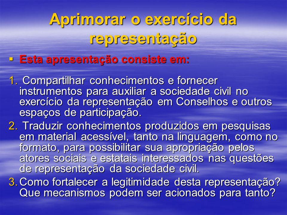 Aprimorar o exercício da representação Esta apresentação consiste em: Esta apresentação consiste em: 1.