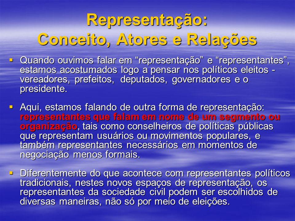 Representação: Conceito, Atores e Relações Quando ouvimos falar em representação e representantes, estamos acostumados logo a pensar nos políticos eleitos - vereadores, prefeitos, deputados, governadores e o presidente.
