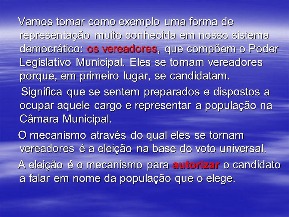 Vamos tomar como exemplo uma forma de representação muito conhecida em nosso sistema democrático: os vereadores, que compõem o Poder Legislativo Municipal.