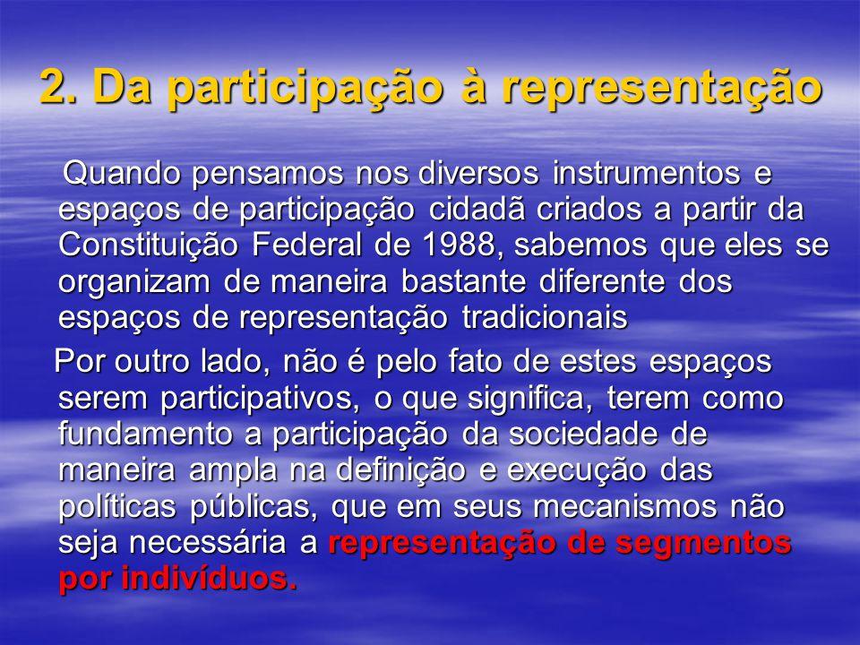 2. Da participação à representação Quando pensamos nos diversos instrumentos e espaços de participação cidadã criados a partir da Constituição Federal