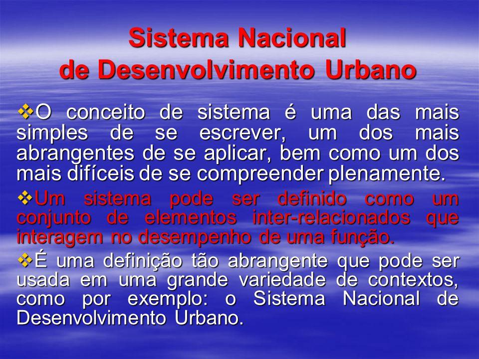 Sistema Nacional de Desenvolvimento Urbano O conceito de sistema é uma das mais simples de se escrever, um dos mais abrangentes de se aplicar, bem como um dos mais difíceis de se compreender plenamente.