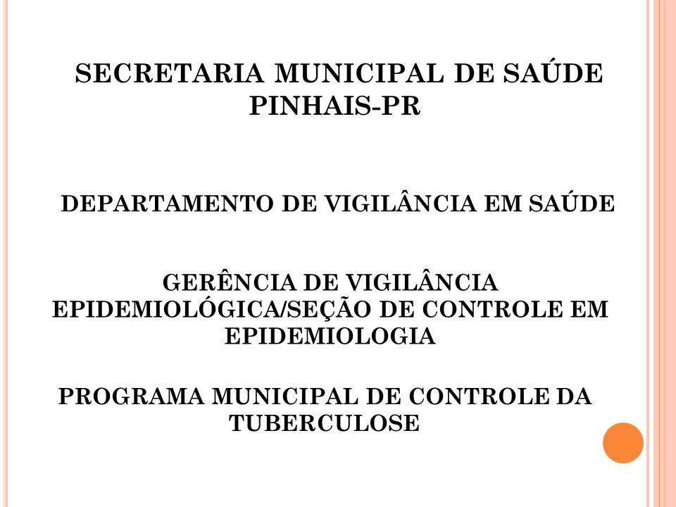 SECRETARIA MUNICIPAL DE SAÚDE PINHAIS-PR GERÊNCIA DE VIGILÂNCIA EPIDEMIOLÓGICA/SEÇÃO DE CONTROLE EM EPIDEMIOLOGIA PROGRAMA MUNICIPAL DE CONTROLE DA TU
