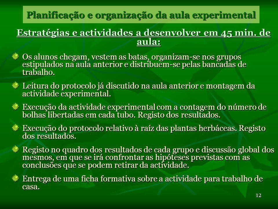 11 Planificação e organização da aula experimental Desenvolvimento de Competências essenciais É impossível levar ao desenvolvimento e avaliação de com