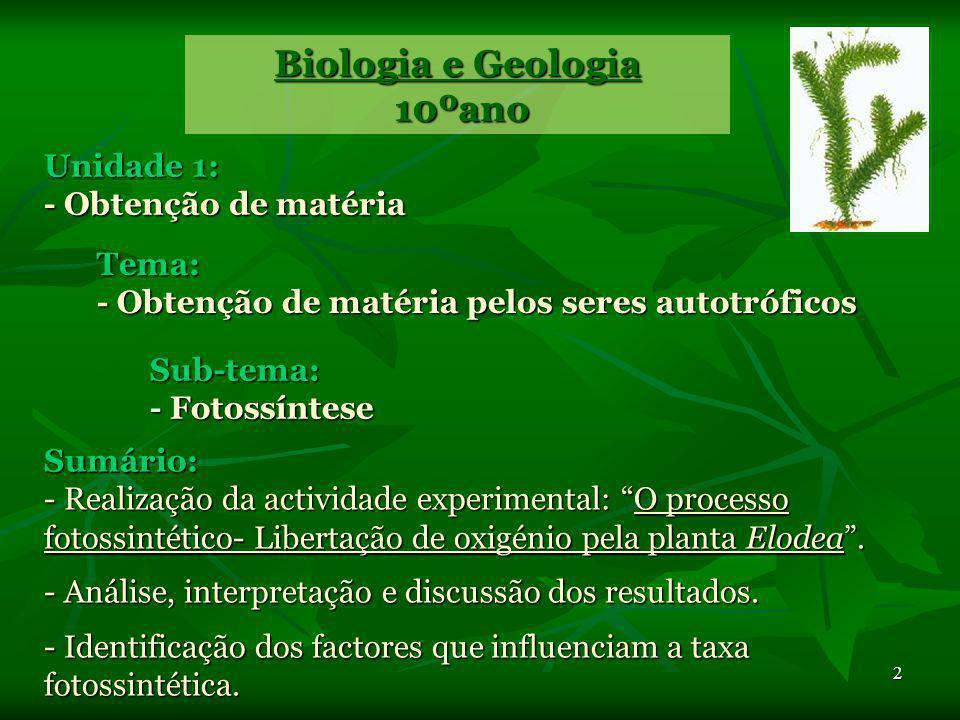 2 Unidade 1: - Obtenção de matéria Biologia e Geologia 10ºano 10ºano Tema: - Obtenção de matéria pelos seres autotróficos Sub-tema: - Fotossíntese Sumário: - Realização da actividade experimental: O processo fotossintético- Libertação de oxigénio pela planta Elodea.