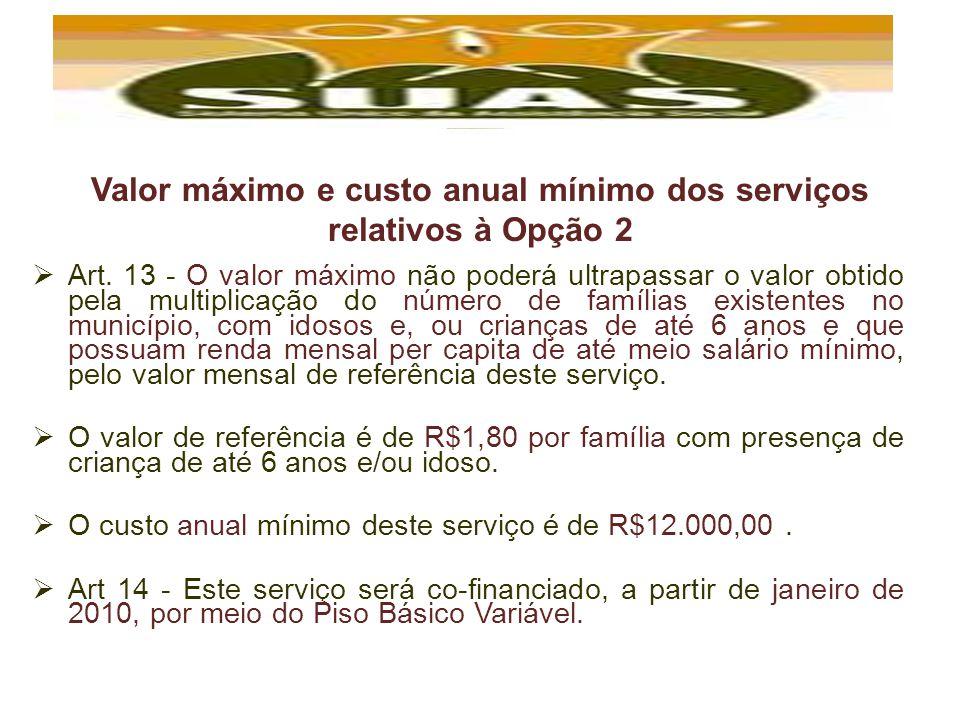 Valor máximo e custo anual mínimo dos serviços relativos à Opção 2 Art. 13 - O valor máximo não poderá ultrapassar o valor obtido pela multiplicação d