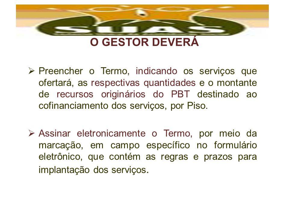 O GESTOR DEVERÁ Preencher o Termo, indicando os serviços que ofertará, as respectivas quantidades e o montante de recursos originários do PBT destinad