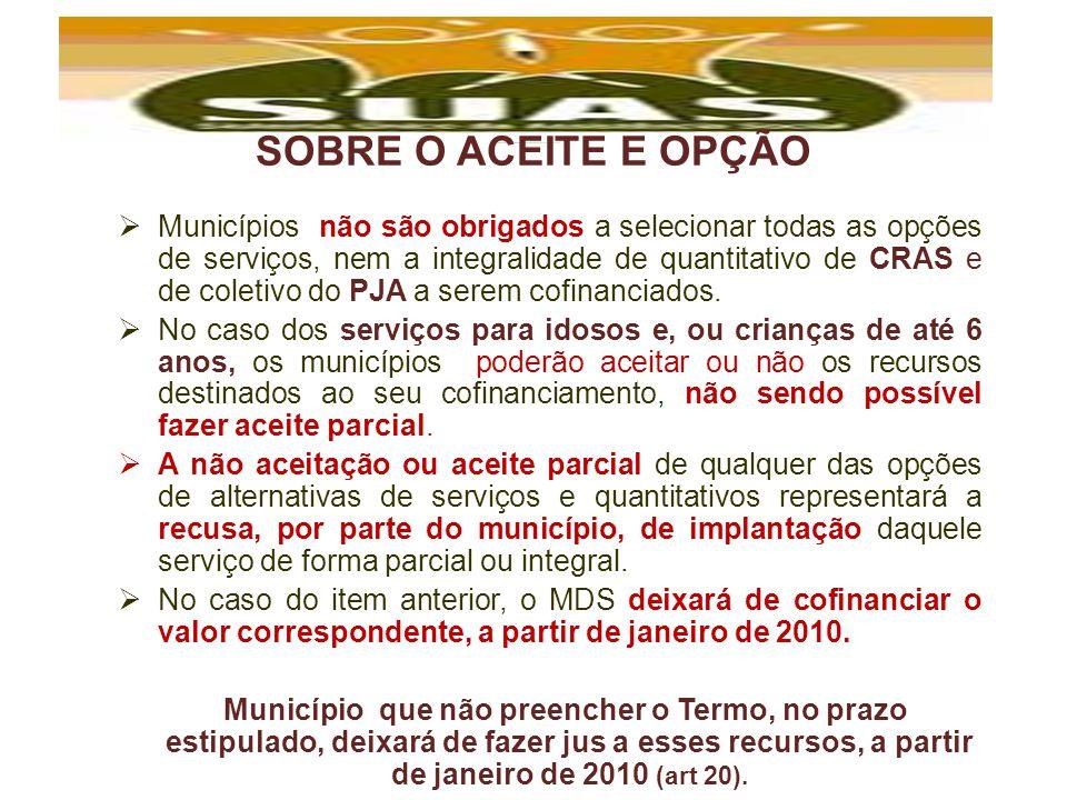 SOBRE O ACEITE E OPÇÃO Municípios não são obrigados a selecionar todas as opções de serviços, nem a integralidade de quantitativo de CRAS e de coletiv