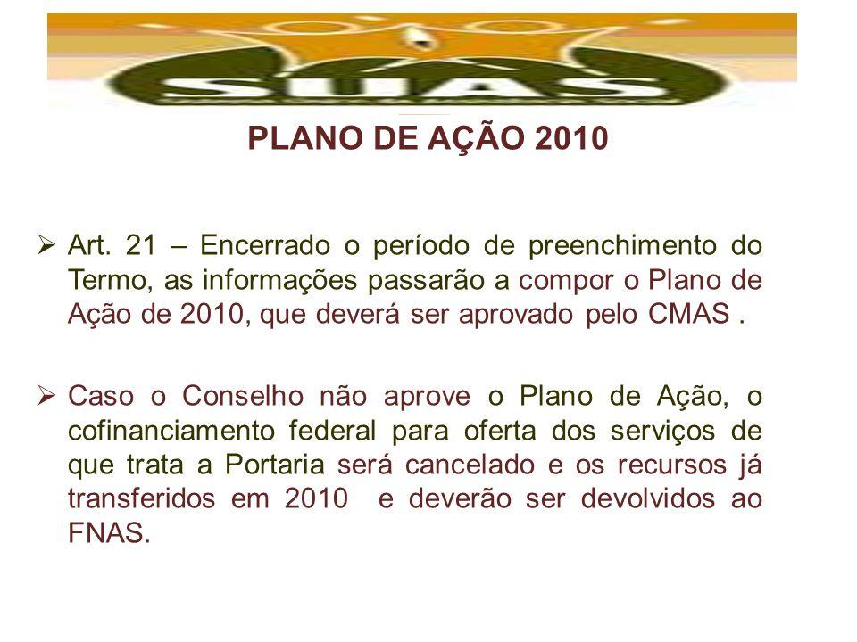 PLANO DE AÇÃO 2010 Art. 21 – Encerrado o período de preenchimento do Termo, as informações passarão a compor o Plano de Ação de 2010, que deverá ser a