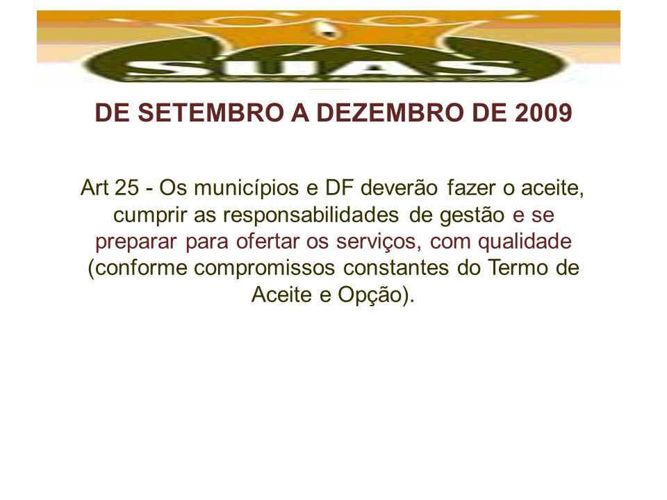 DE SETEMBRO A DEZEMBRO DE 2009 Art 25 - Os municípios e DF deverão fazer o aceite, cumprir as responsabilidades de gestão e se preparar para ofertar o