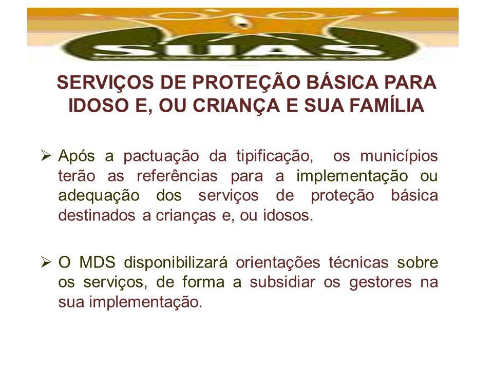 SERVIÇOS DE PROTEÇÃO BÁSICA PARA IDOSO E, OU CRIANÇA E SUA FAMÍLIA Após a pactuação da tipificação, os municípios terão as referências para a implemen