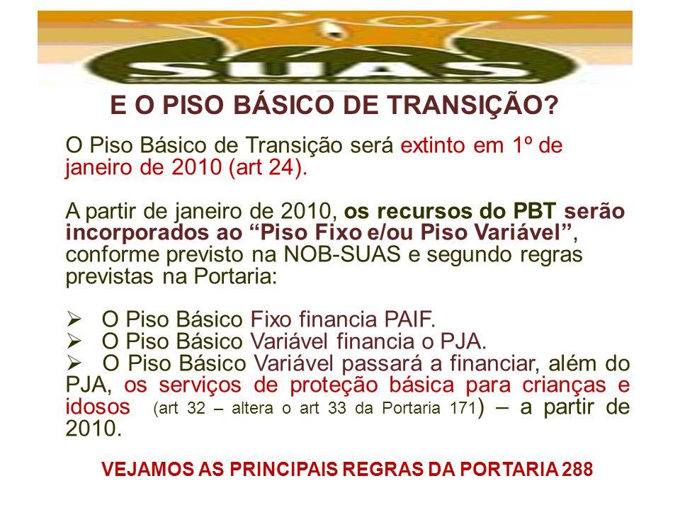 E O PISO BÁSICO DE TRANSIÇÃO? O Piso Básico de Transição será extinto em 1º de janeiro de 2010 (art 24). A partir de janeiro de 2010, os recursos do P